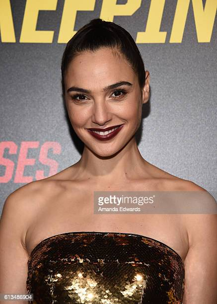 Actress Gal Gadot arrives at the premiere of 20th Century Fox's 'Keeping Up With The Joneses' at Fox Studios on October 8 2016 in Los Angeles...