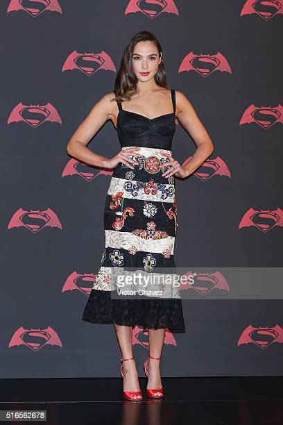 Actress Gal Gadot attends 'Batman v Superman Dawn of Justice' Mexico City photo call at St Regis Hotel on March 19 2016 in Mexico City Mexico