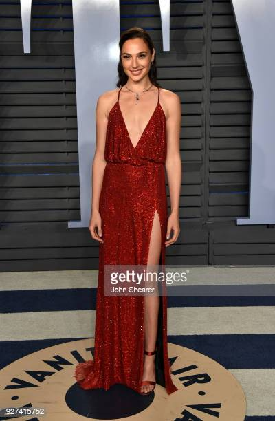 Actress Gal Gadot attends the 2018 Vanity Fair Oscar Party hosted by Radhika Jones at Wallis Annenberg Center for the Performing Arts on March 4 2018...
