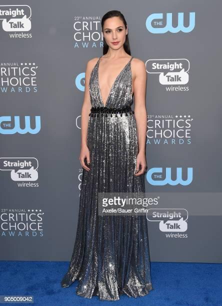 Actress Gal Gadot attends the 23rd Annual Critics' Choice Awards at Barker Hangar on January 11 2018 in Santa Monica California