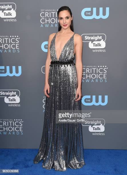 Actress Gal Gadot attends the 23rd Annual Critics' Choice Awards at Barker Hangar on January 11 2018 in Santa Monica California
