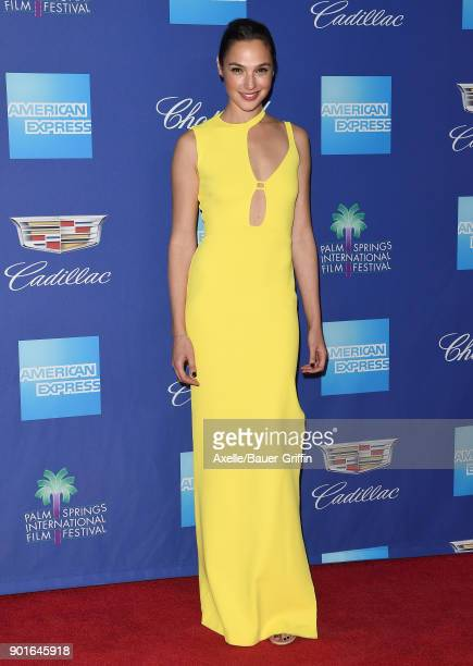 Actress Gal Gadot attends the 29th Annual Palm Springs International Film Festival Awards Gala at Palm Springs Convention Center on January 2 2018 in...