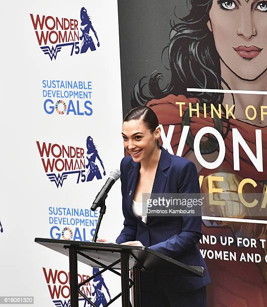 Actress Gal Gadot attends the Wonder Woman UN Ambassador Ceremony at United Nations on October 21 2016 in New York City