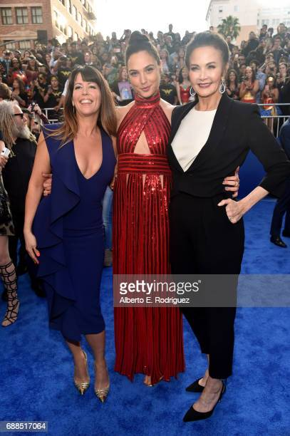 Actress Gal Gadot director Patty Jenkins and actress Lynda Carter attend the premiere of Warner Bros Pictures' 'Wonder Woman' at the Pantages Theatre...