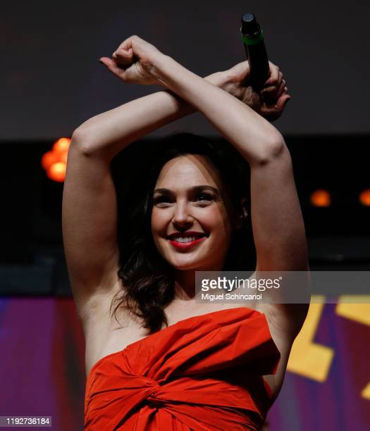 Actress Gal Gadot participates in the Warner Bros Theatrical Panel for Wonder Woman 1984 during CCXP 2019 Sao Paulo at Sao Paulo Expo on December 08...