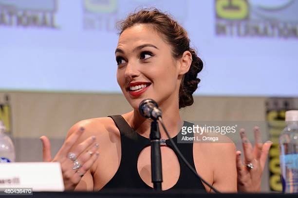 Actress Gal Gadot speaks onstage at the Entertainment Weekly Women Who Kick Ass panel during ComicCon International 2015 at the San Diego Convention...
