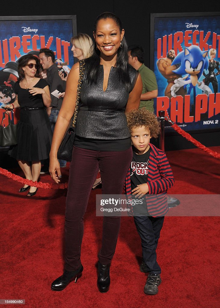 Actress Garcelle Beauvais and son arrive at the Los Angeles premiere of 'Wreck-It Ralph' at the El Capitan Theatre on October 29, 2012 in Hollywood, California.