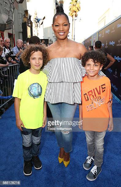 Actress Garcelle Beauvais and sons Jaid Thomas Nilon and Jax Joseph Nilon attend the premiere Of EuropaCorp's Nine Lives at TCL Chinese Theatre on...