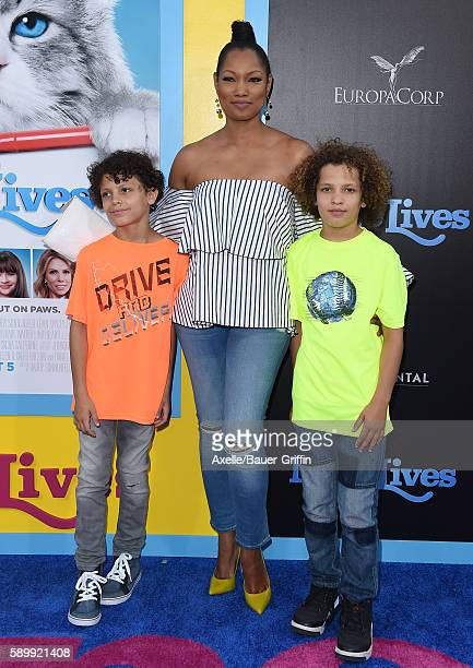 Actress Garcelle Beauvais and sons Jaid Thomas Nilon and Jax Joseph Nilon arrive at the premiere of EuropaCorp's 'Nine Lives' at TCL Chinese Theatre...
