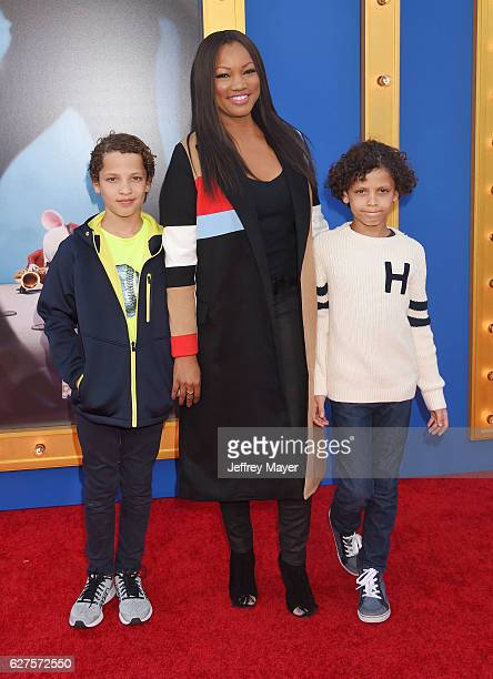Actress Garcelle Beauvais and sons Jaid Thomas Nilon and Jax Joseph Nilon arrive at the Premiere Of Universal Pictures' 'Sing' at the Microsoft...