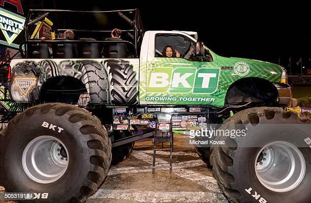 Actress Garcelle Beauvais attends Monster Jam Celebrity Night at Angel Stadium on January 16 2016 in Anaheim California