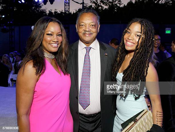 Actress Garcelle Beauvais civil rights activist Jesse Jackson and Ashley Laverne Jackson attend HollyRod Foundation's DesignCare Gala on July 16 2016...
