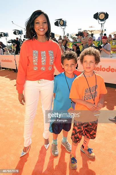 Actress Garcelle Beauvais Jaid Thomas Nilon and Jax Joseph Nilon attend Nickelodeon's 28th Annual Kids' Choice Awards held at The Forum on March 28...