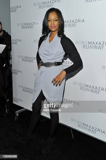 Actress Garcelle Beauvais poses backstage at the BCBGMAXAZRIA Fall 2011 fashion show during MercedesBenz Fashion Week at The Theatre at Lincoln...