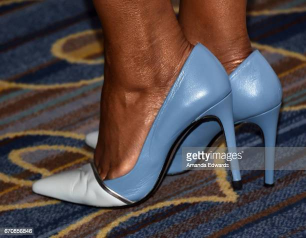 Actress Garcelle Beauvais shoe detail arrives at the 2017 Women's Guild CedarsSinai Annual Spring Luncheon at the Beverly Wilshire Four Seasons Hotel...