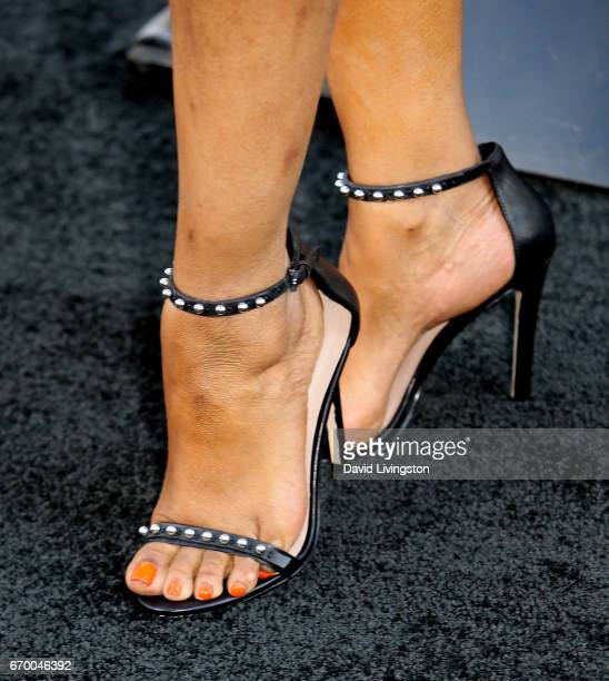 """Actress Garcelle Beauvais, shoe detail, attends the premiere of Warner Bros. Pictures' """"Unforgettable"""" at TCL Chinese Theatre on April 18, 2017 in..."""