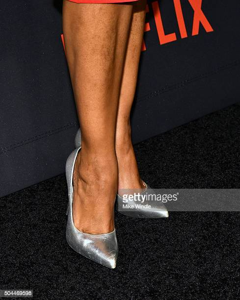 Actress Garcelle Beauvais shoe detail attends The Weinstein Company and Netflix Golden Globe Party presented with DeLeon Tequila Laura Mercier Lindt...