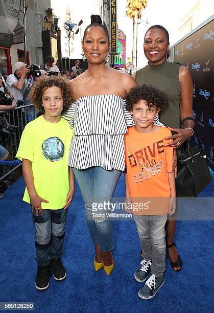 Actress Garcelle Beauvais with and sons Jaid Thomas Nilon and Jax Joseph Nilon and sister attend the premiere Of EuropaCorp's Nine Lives at TCL...
