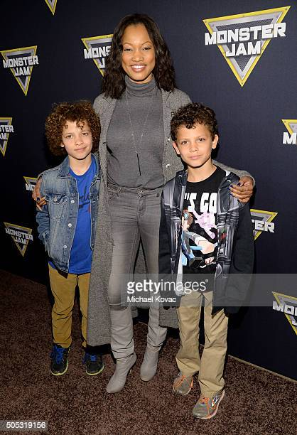 Actress Garcelle Beauvais with sons Jaid Nilon and Jax Nilon attend Monster Jam Celebrity Night at Angel Stadium on January 16 2016 in Anaheim...