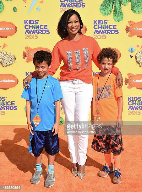 Actress Garcelle Beauvais with sons Jaid Thomas Nilon and Jax Joseph Nilon arrive at Nickelodeon's 28th Annual Kids' Choice Awards at The Forum on...