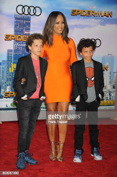 Actress Garcelle Beauvias Jax Joseph Nilon and Jaid Thomas Nilon attend the premiere of Columbia Pictures' SpiderMan Homecoming held at TCL Chinese...