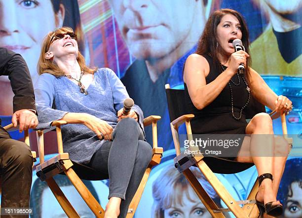 Actress Gates McFadden and actress Marina Sirtis participate in the 11th Annual Official Star Trek Convention day 3 held at the Rio Suites and Hotel...