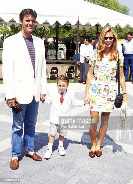 Actress Gates McFadden husband John Talbot and son James McFaddenTalbot attend The Indian in the Cupboard Hollywood Premiere on July 8 1995 at...