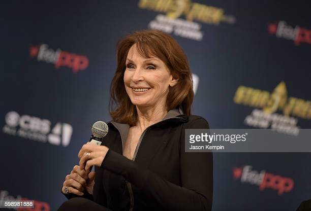 Actress Gates McFadden speaks during the Star Trek Mission New York event at Javits Center on September 3 2016 in New York City