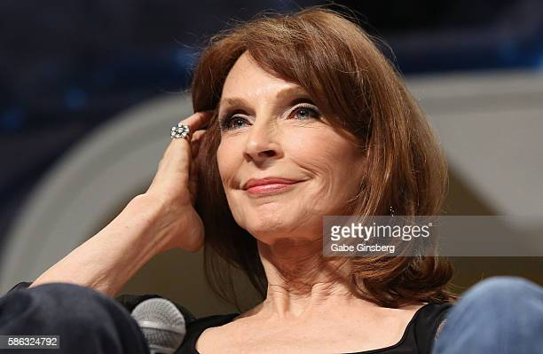 Actress Gates McFadden speaks during the Star Trek The Next Generation Stars panel at the 15th annual official Star Trek convention at the Rio Hotel...