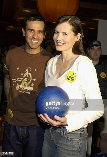 Actress Geena Davis and husband Dr Reza Jarrahy attend the Gatorade ESPY Awards PreParty at the Lucky Strikes bowling alley on July 15 2003 in...