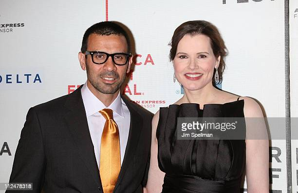 Actress Geena Davis and husband Reza Jarrahy attend the 8th Annual Tribeca Film Festival Accidents Happen premiere at BMCC Tribeca PAC on April 23...