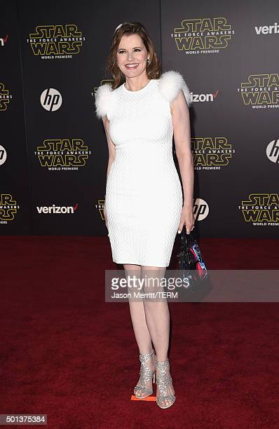 Actress Geena Davis attends Premiere of Walt Disney Pictures and Lucasfilm's Star Wars The Force Awakens on December 14 2015 in Hollywood California