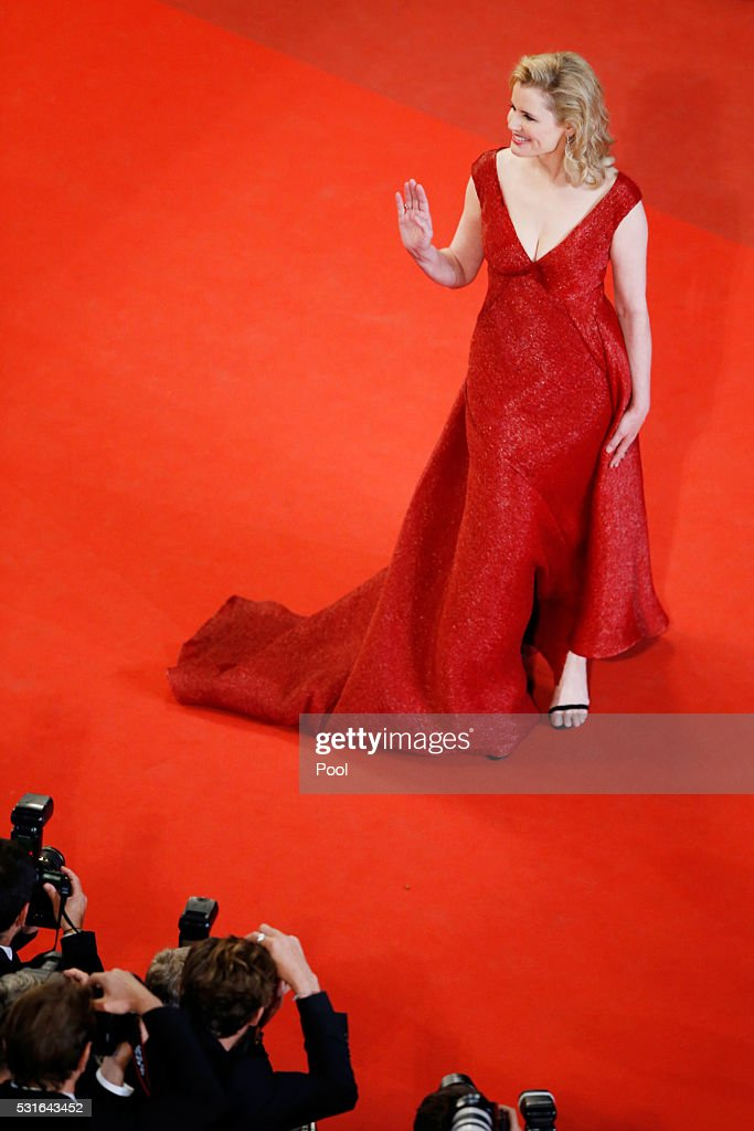 Actress Geena Davis attends 'The Nice Guys' premiere during the 69th annual Cannes Film Festival at the Palais des Festivals on May 15, 2016 in Cannes, France.