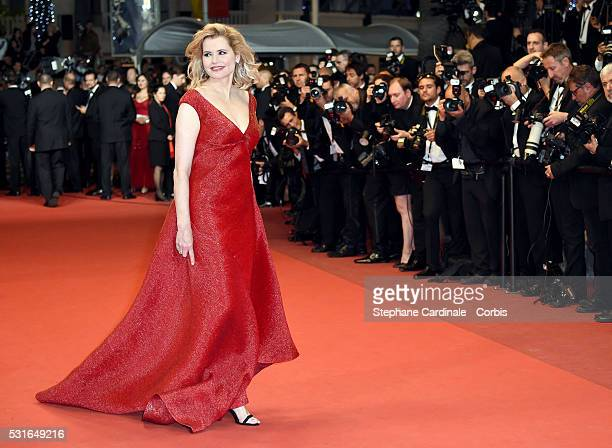 Actress Geena Davis attends 'The Nice Guys' premiere during the 69th annual Cannes Film Festival at the Palais des Festivals on May 15 2016 in Cannes...