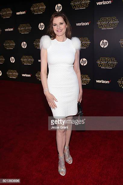 "Actress Geena Davis attends the World Premiere of ""Star Wars The Force Awakens"" at the Dolby El Capitan and TCL Theatres on December 14 2015 in..."