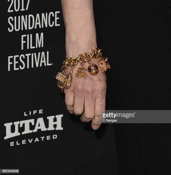 Actress Geena Davis charm bracelet detail attends the 'Marjorie Prime' Premiere at Eccles Center Theatre on January 23 2017 in Park City Utah