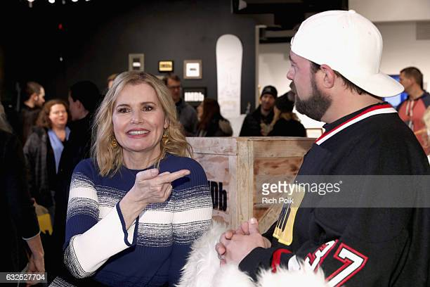Actress Geena Davis of 'Marjorie Prime' and Kevin Smith attend The IMDb Studio featuring the Filmmaker Discovery Lounge presented by Amazon Video...