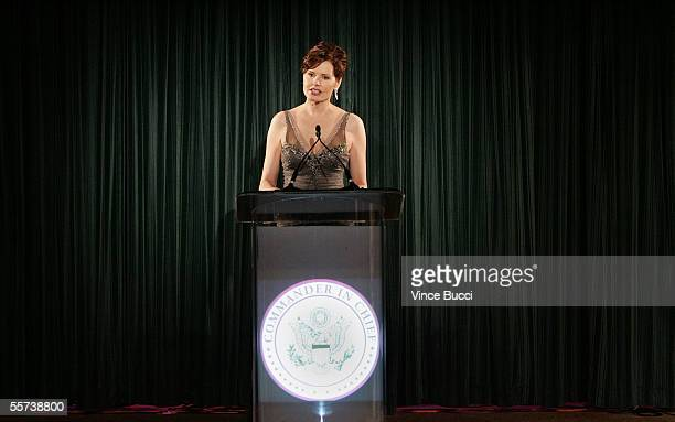 Actress Geena Davis onstage during the inaugural ball and premiere of ABC's CommanderinChief after party held at The Regent Beverly Wilshire hotel on...