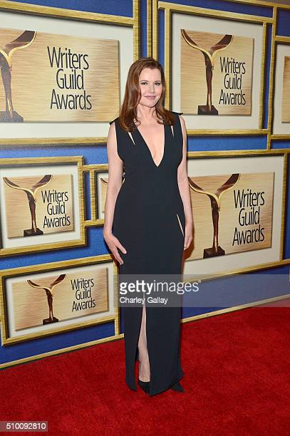 Actress Geena Davis poses in the Press Room during the 2016 Writers Guild Awards at the Hyatt Regency Century Plaza on February 13 2016 in Los...
