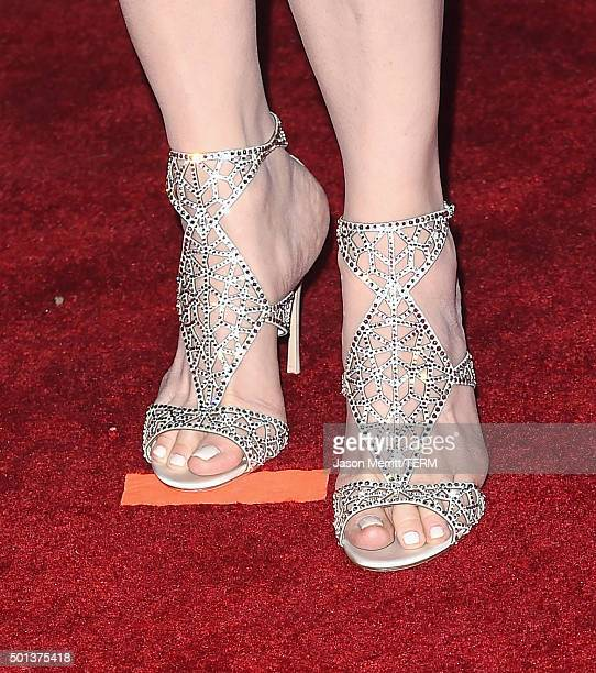 Actress Geena Davis shoe detail attends Premiere of Walt Disney Pictures and Lucasfilm's 'Star Wars The Force Awakens' on December 14 2015 in...