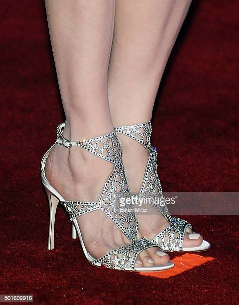 Actress Geena Davis shoes detail attends the premiere of Walt Disney Pictures and Lucasfilm's Star Wars The Force Awakens at the Dolby Theatre on...
