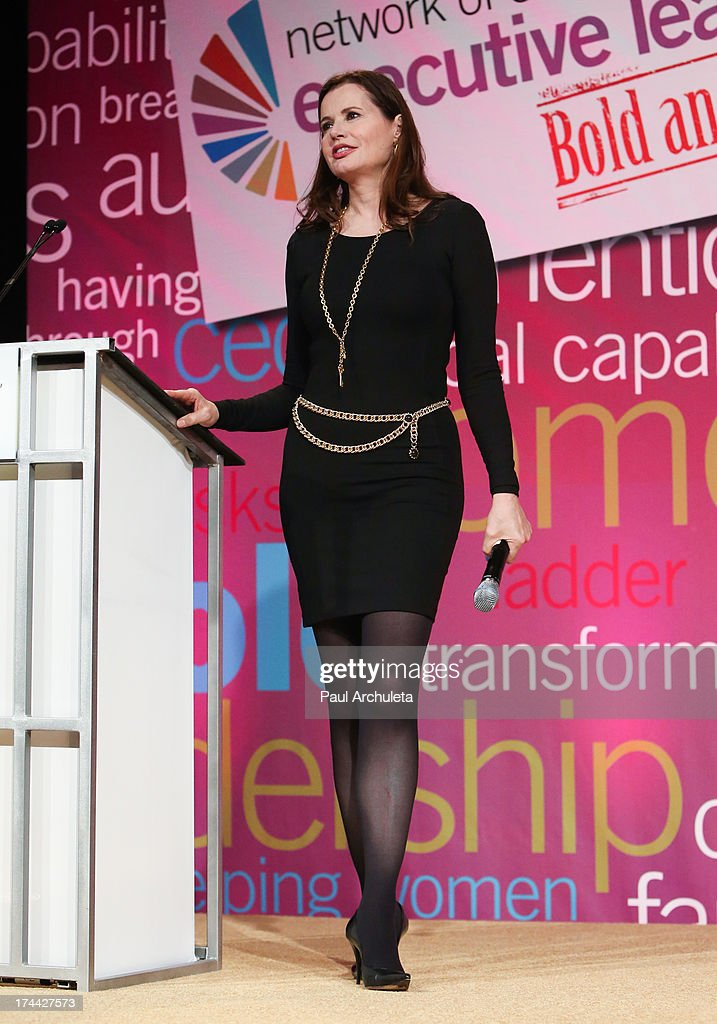 Actress Geena Davis speaks at the 2013 New Executive Leaders Forum at the Terranea Resort on July 25, 2013 in Rancho Palos Verdes, California.