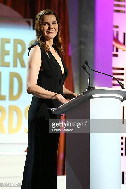 Actress Geena Davis speaks onstage during the 2016 Writers Guild Awards LA Ceremony at the Hyatt Regency Century Plaza on February 13 2016 in Los...