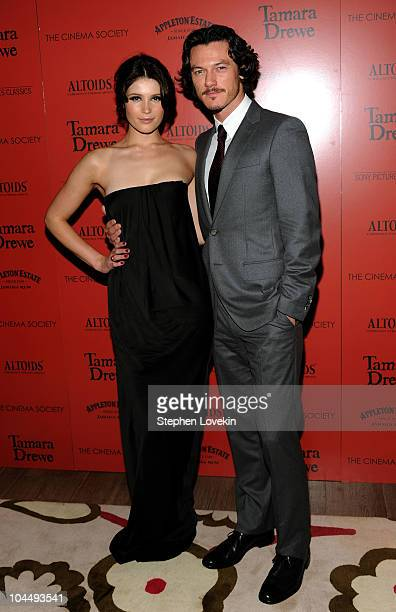 """Actress Gemma Arterton and actor Luke Evans attend the Cinema Society and Altoids's screening of """"Tamara Drewe"""" at the Crosby Street Hotel on..."""