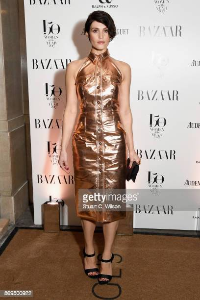 Actress Gemma Arterton arrives at the Harper's Bazaar Woman Of The Year Awards held at Claridges Hotel on November 2 2017 in London England