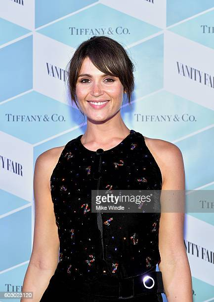 Actress Gemma Arterton attends the Vanity Fair and Tiffany Co private dinner toasting Lupita Nyong'o and celebrating Legendary Style at ShangriLa...