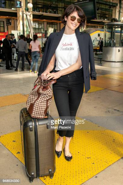 Actress Gemma Arterton is seen at Gare du Nord station on April 19 2018 in Paris France