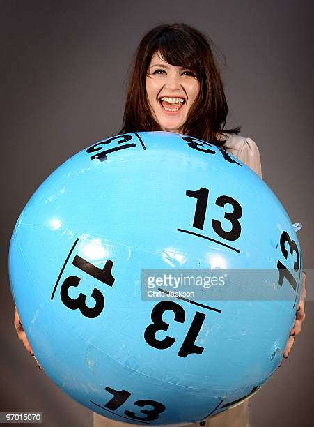 Actress Gemma Arterton poses with a giant lottery ball as she launches 'The National Lottery's Britain Has Balls Tour' at London Bridge Studios on...