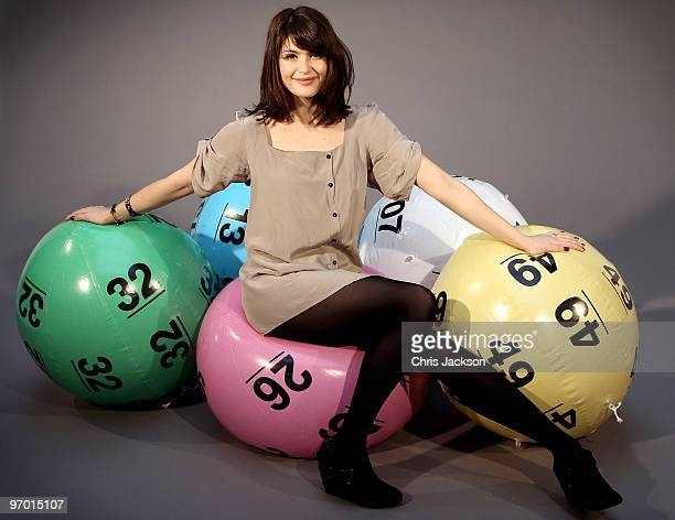 Actress Gemma Arterton poses with giant lottery balls as she launches 'The National Lottery's Britain Has Balls Tour' at London Bridge Studios on...