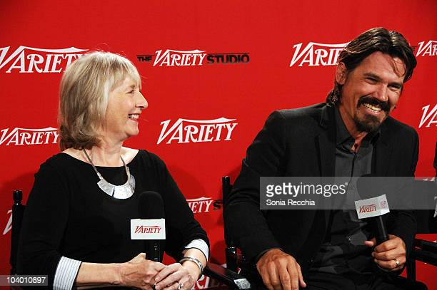 Actress Gemma Jones and actor Josh Brolin attend Day 2 at the Variety Studio at Holt Renfrew during the 35th Toronto International Film Festival at...